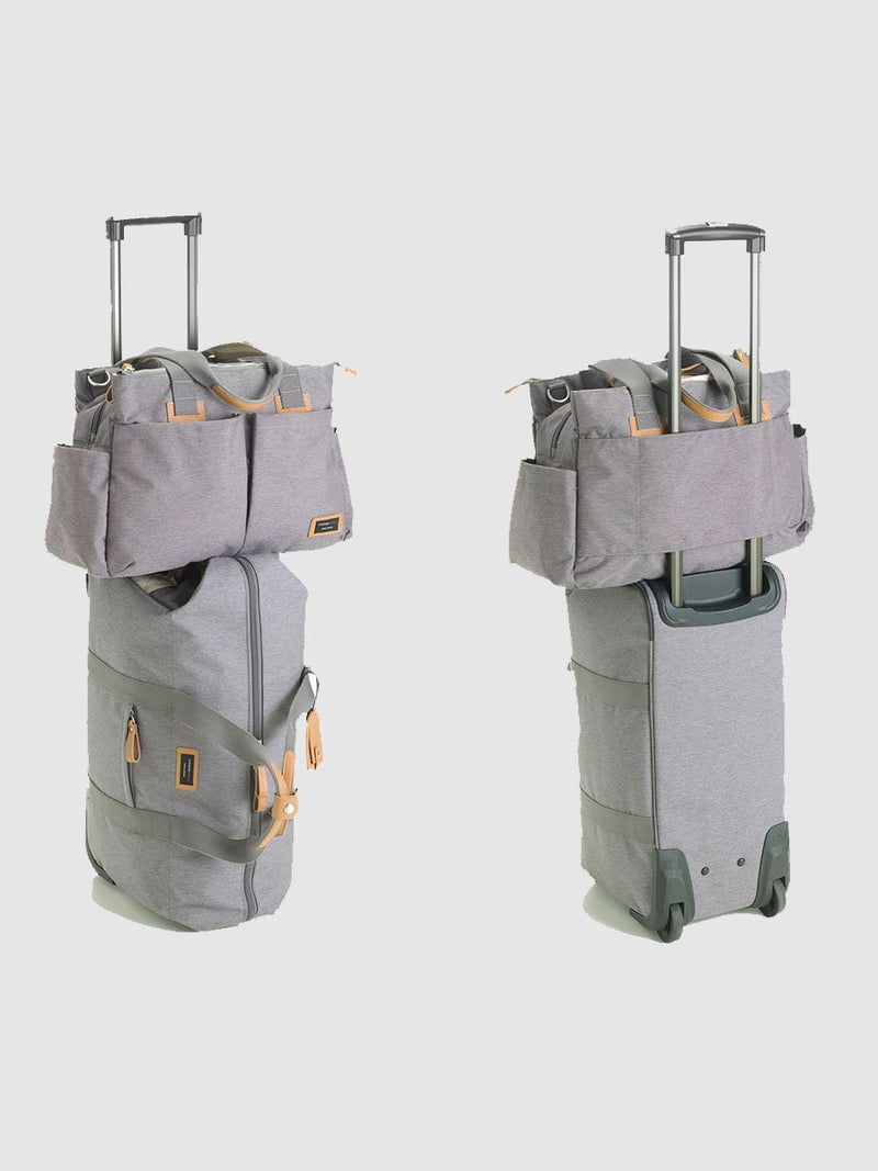 storksak travel cabin carry-on grey, hospital bag, with shoulder bag on top