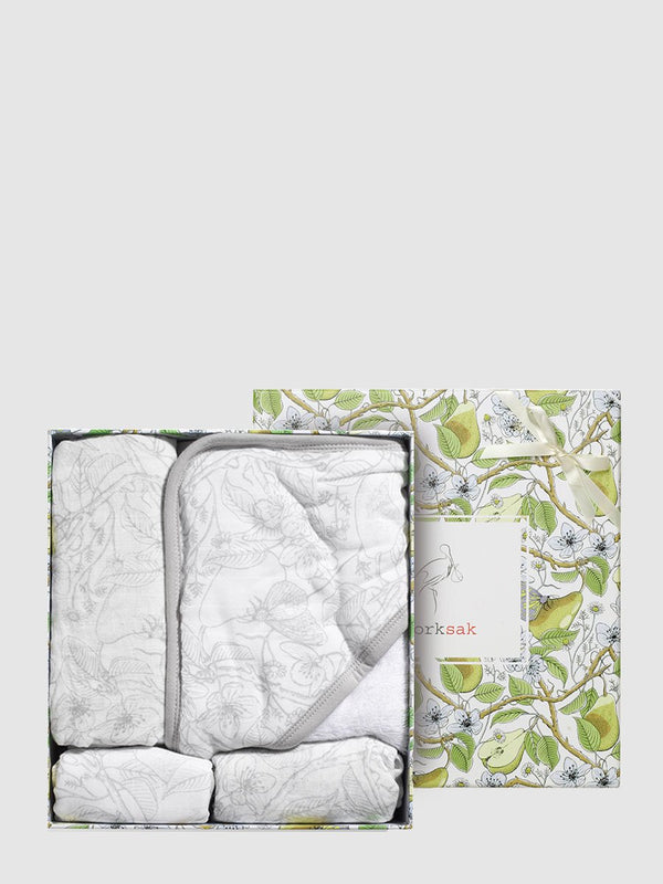 storksak bundle of joy gift set, muslin, swaddle, hooded towel & washcloth, garden print, bamboo & cotton, in box