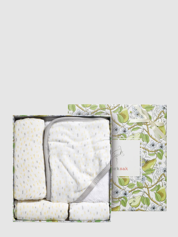 storksak bundle of joy gift set, muslin, swaddle, hooded towel & washcloth, raindot print, bamboo & cotton, in box