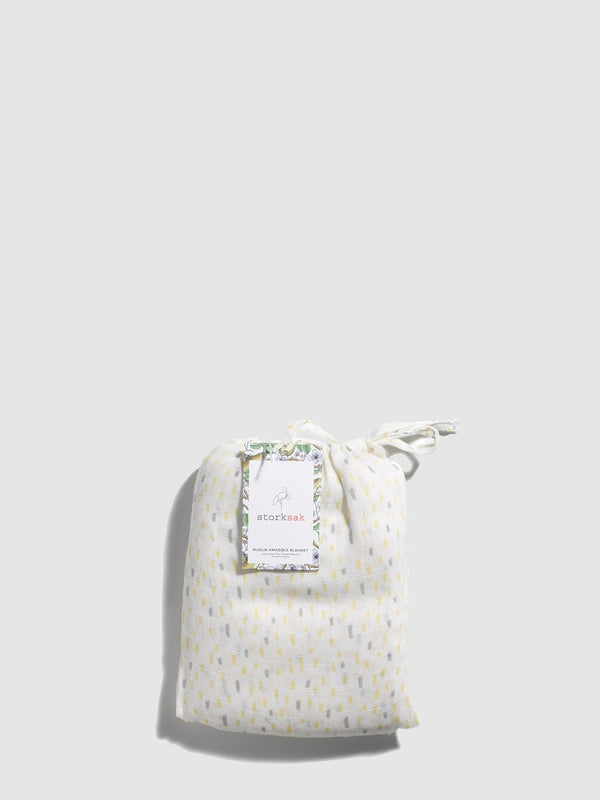 storksak muslin swaddle, 120cm x 120cm, raindot print, in drawstring bag