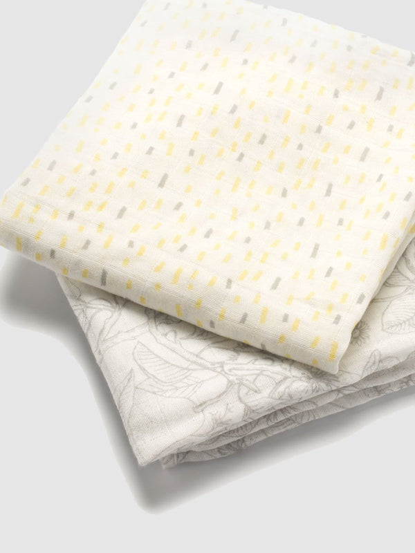 storksak muslin squares 2 pack, 70cm x 70cm, folded to see the 2 print designs