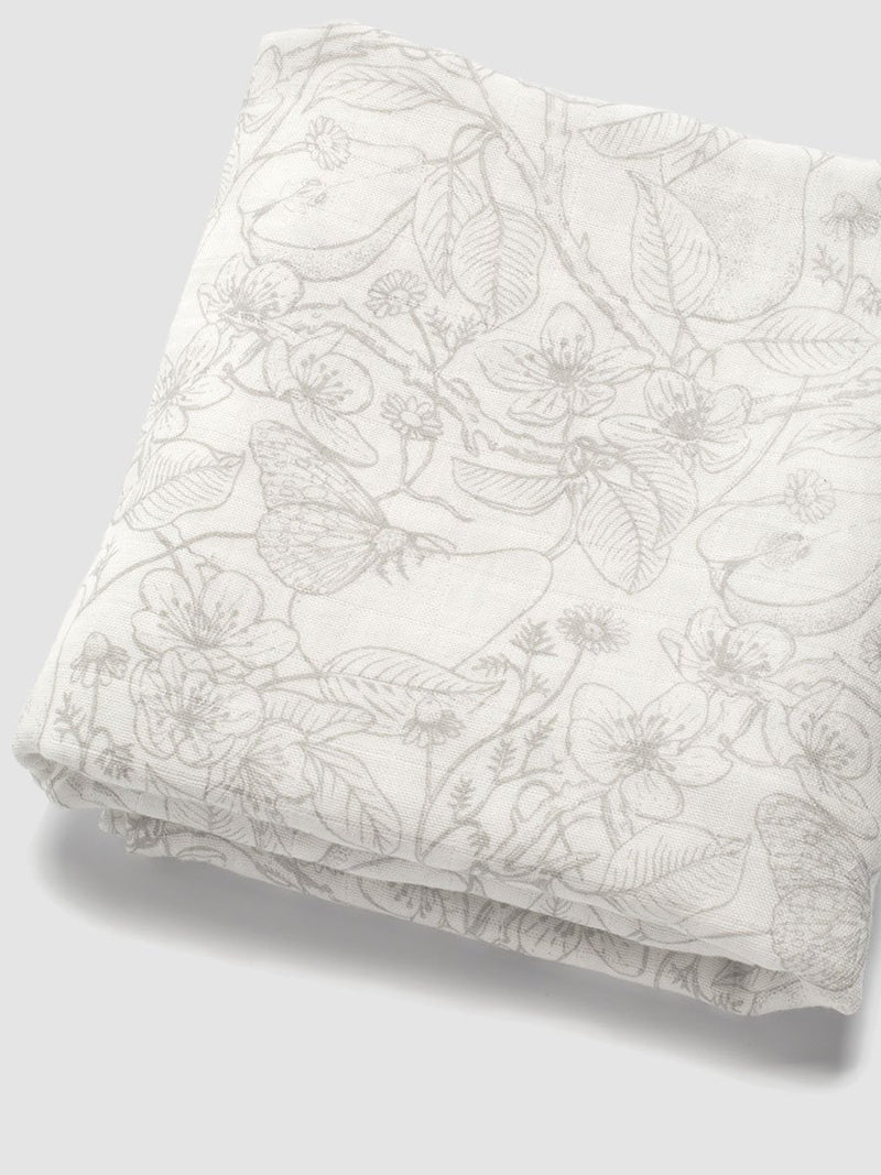 storksak muslin swaddle 2 pack, 120cm x 120cm, 1 swaddle floded to show grey floral print