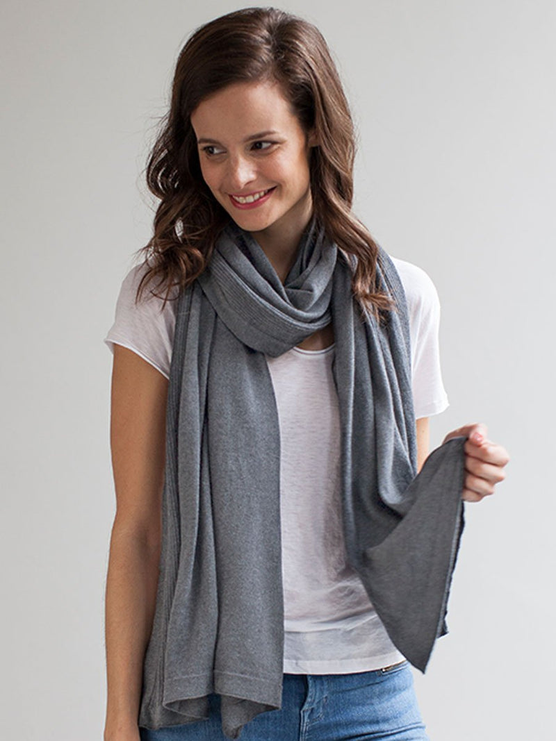 storksak breastfeeding shawl, mother's cocoon nursing cover, pale grey organic cotton, model wearing as scarf