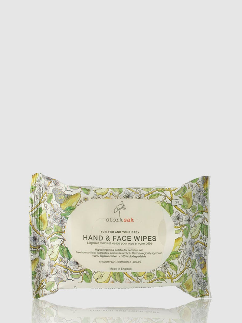 storksak organics hand & face wipes, 25 pack