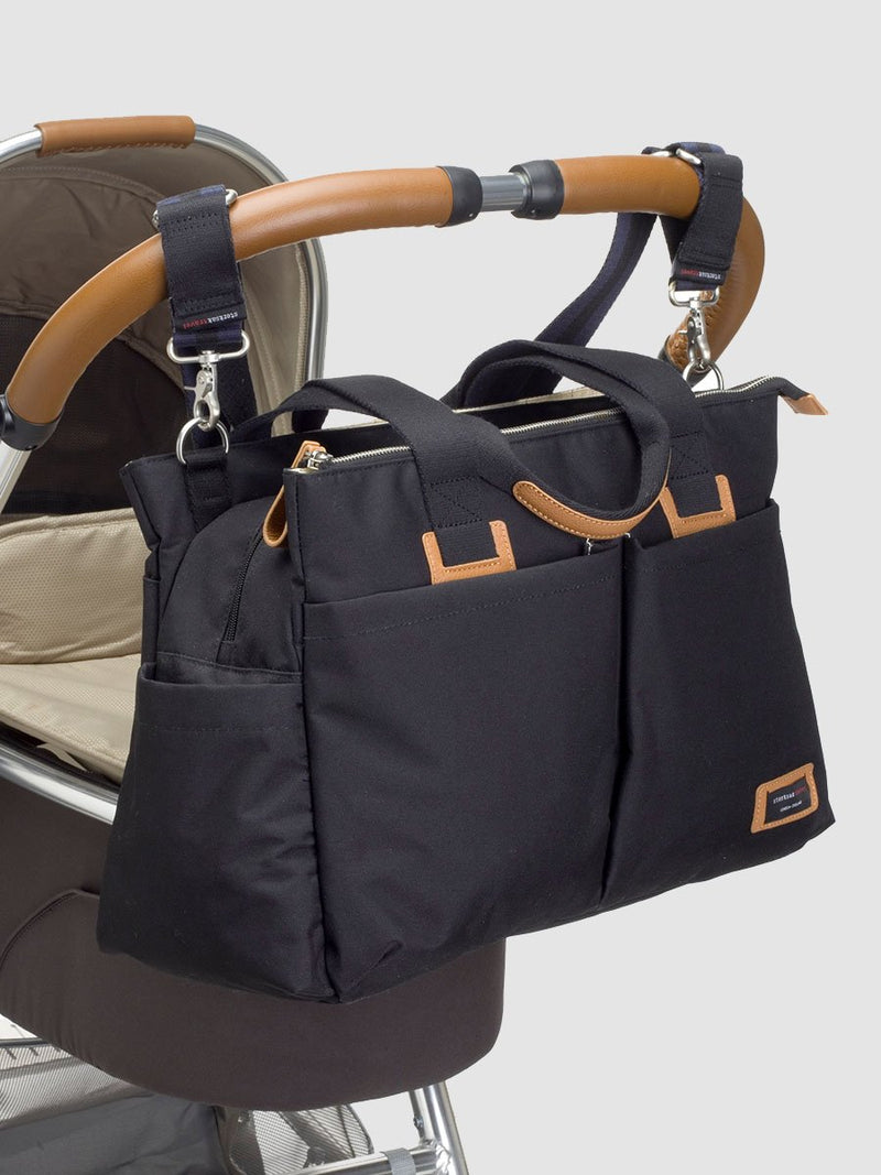 storksak travel shoulder bag black, 3 compartments changing bag, attached to pram with stroller straps