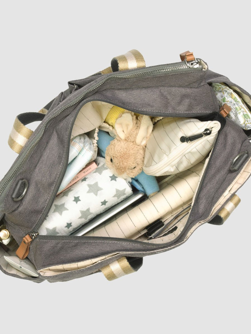 storksak travel shoulder bag grey, 3 compartments changing bag, inside poached with baby items