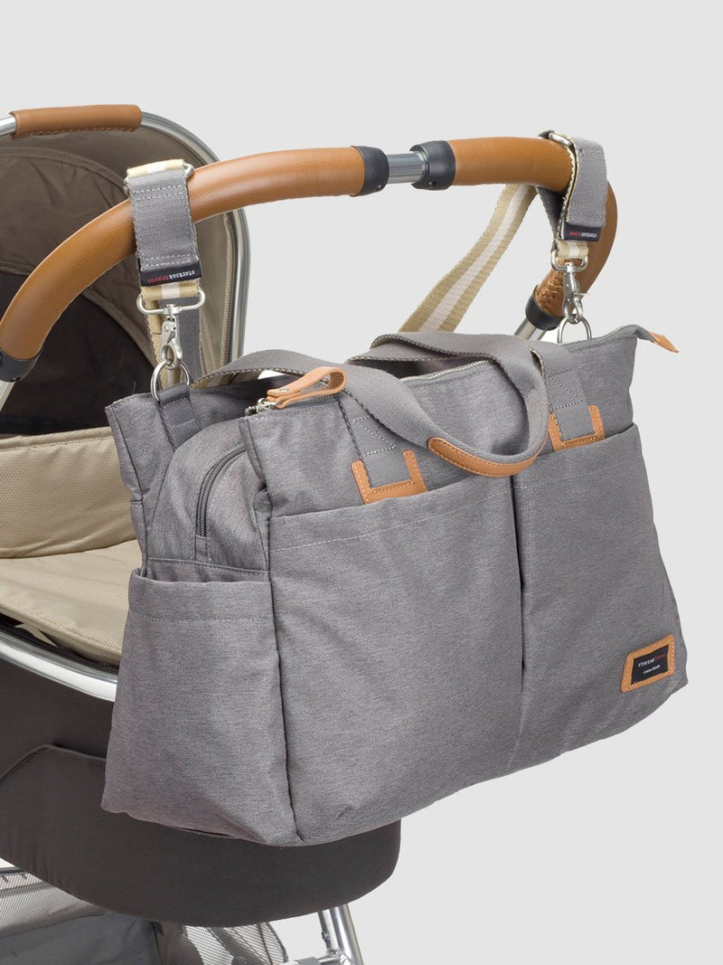 storksak travel shoulder bag grey, 3 compartments changing bag, attached to pram with stroller straps