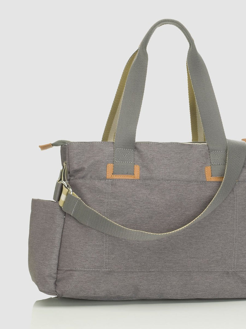 storksak travel shoulder bag grey, 3 compartments changing bag, back view showing slot for luggage handle