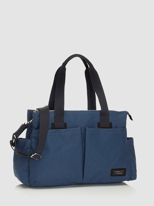 storksak travel shoulder bag navy, 3 compartments changing bag, front view