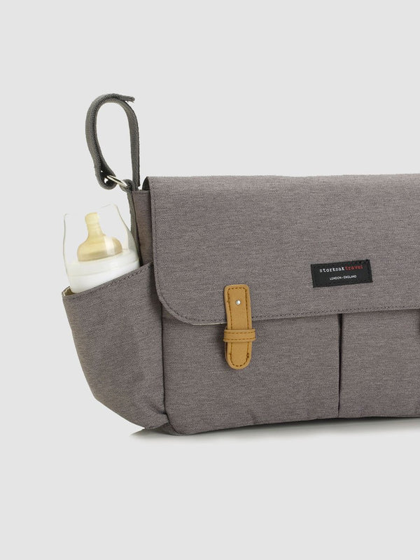 storksak travel stroller organiser grey, pram caddy, close up of side bottle pocket