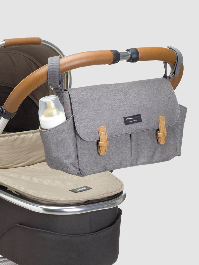 storksak travel stroller organiser grey, pram caddy, attached to stroller bar