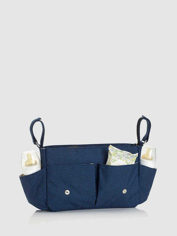 storksak travel stroller organiser navy, pram caddy, flap up with baby items in pockets