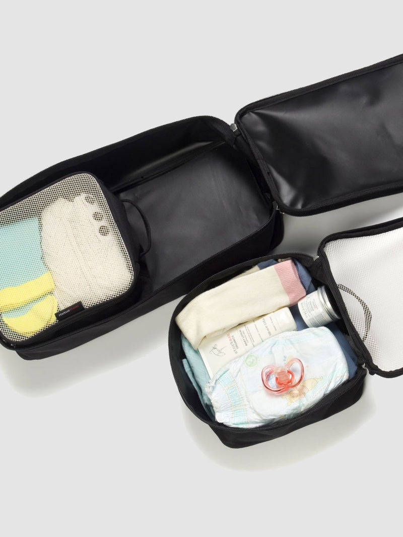 storksak travel packing blocks set of 3 black, open with baby items inside