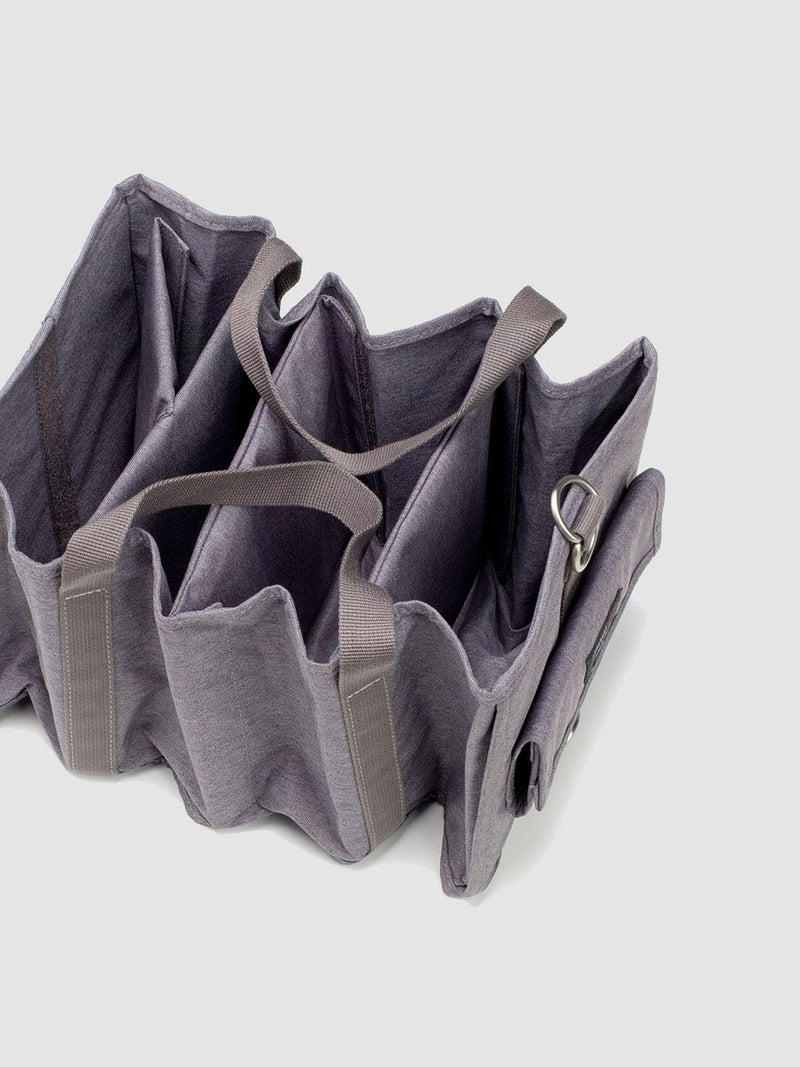 storksak travel hanging organiser grey, showing how organiser folds down