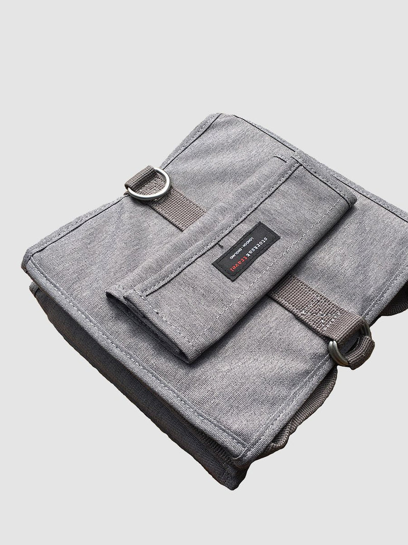 storksak travel hanging organiser grey, folded down flat