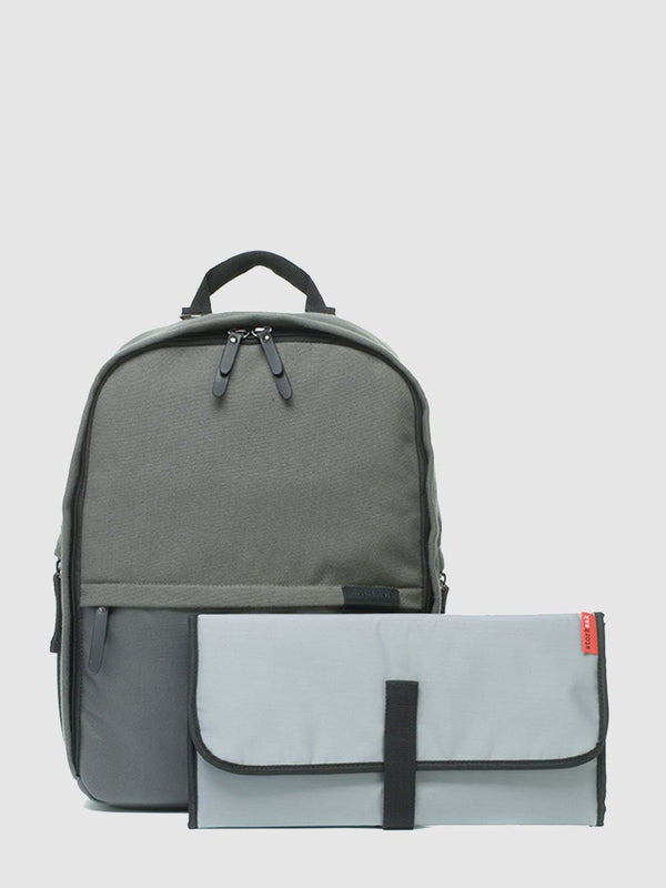 storksak taylor charcoal backpack changing bag, comes with changing mat