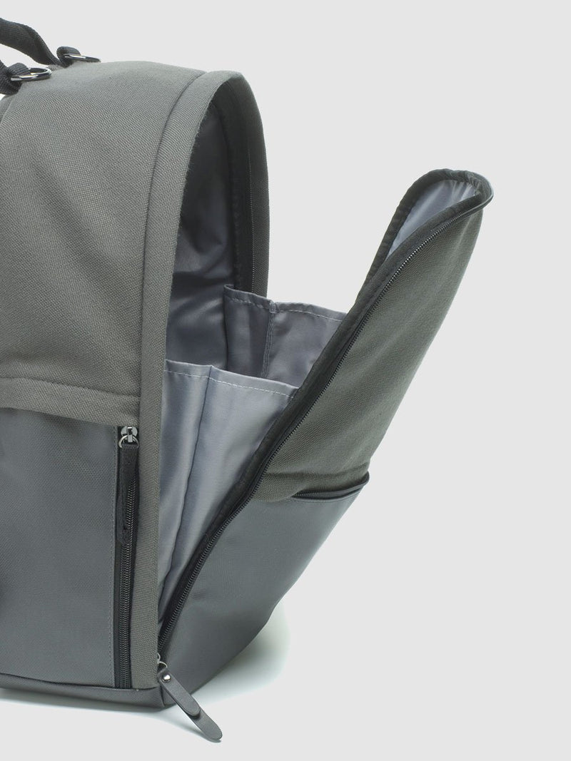 storksak taylor charcoal backpack changing bag, wide zipped opening with gussets to keep everything inside the bag