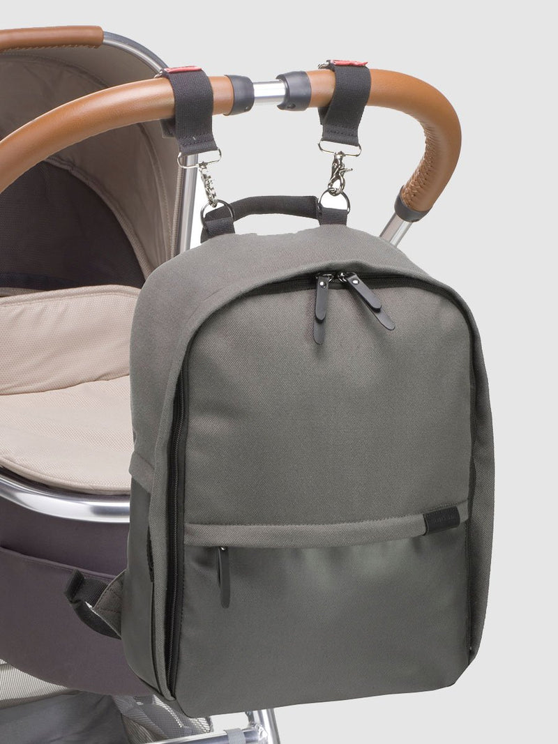 storksak taylor charcoal backpack changing bag, attached to bag with stroller clips