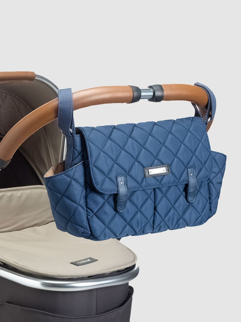 storksak stroller organiser quilt navy, buggy caddy, attached to pram handle
