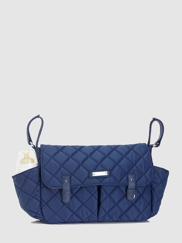 storksak stroller organiser quilt navy, buggy caddy, front view