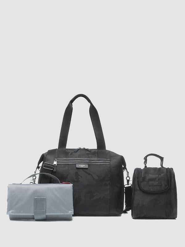 storksak stevie luxe camo black, changing bag, comes with changing mat, stroller straps and insulated bottle bag