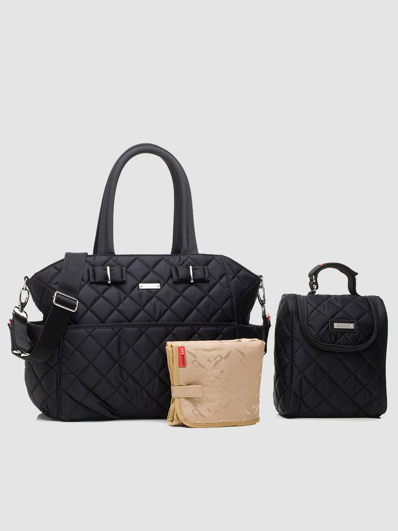 storksak bobby black changing bag, comes with chnaging mat, stroller strap and insulated bottle bag