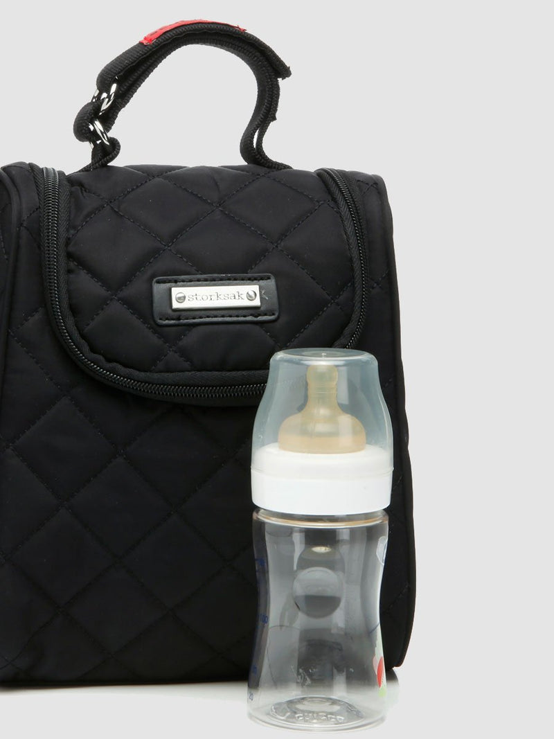 storksak bobby black changing bag, matching insulated bottle bag