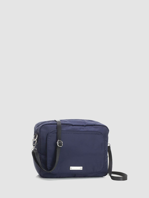 storksak mini-fix navy, small blue changing bag with cross body strap, front view
