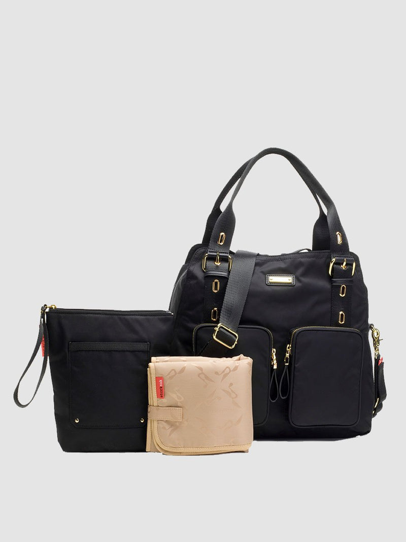 storksak alexa black changing bag, comes with chnaging mat and insulated bottle bag