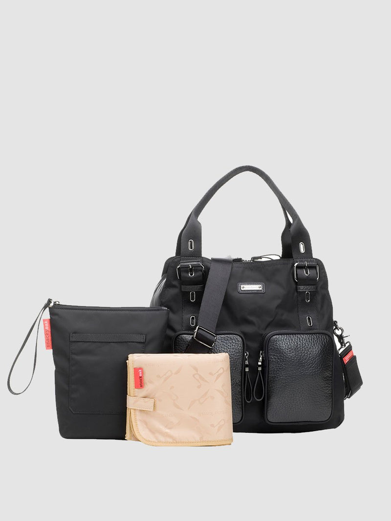 storksak alexa luxe  black changing bag, comes with changing mat and insulated bottle bag