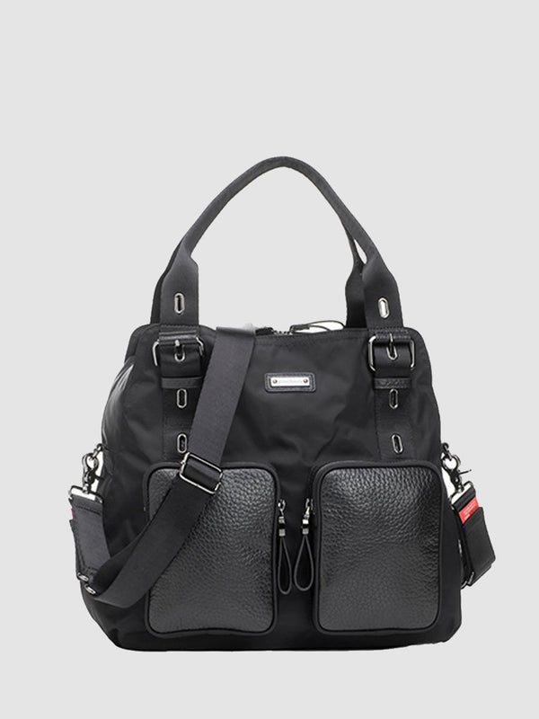 storksak alexa luxe  black changing bag, front view