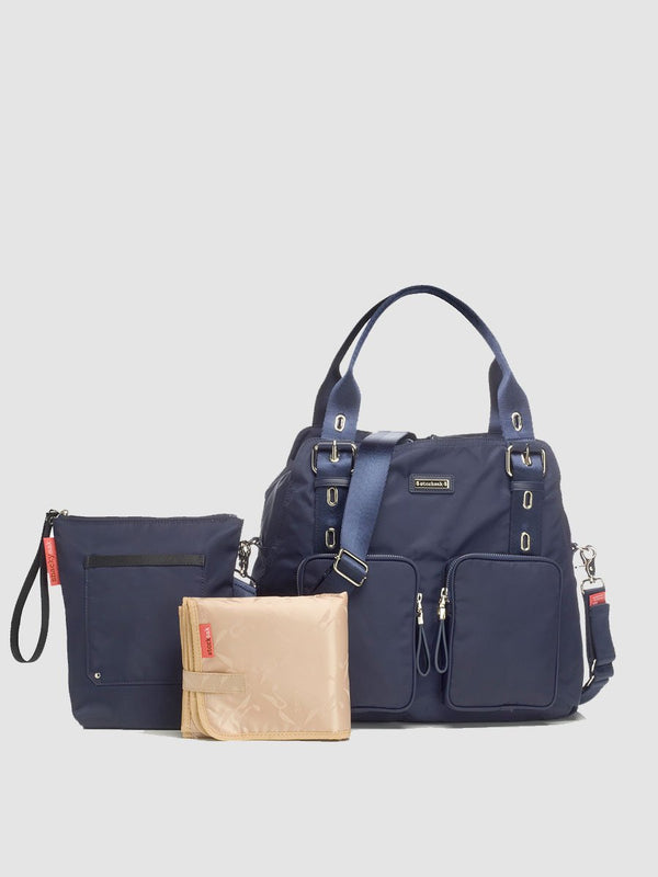 storksak alexa navy changing bag, comes with changing mat and insulated bottle bag