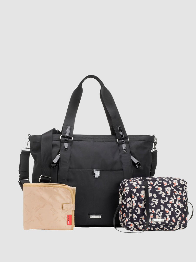 storksak cleo black changing bag, comes with changing mat and mini changing bag