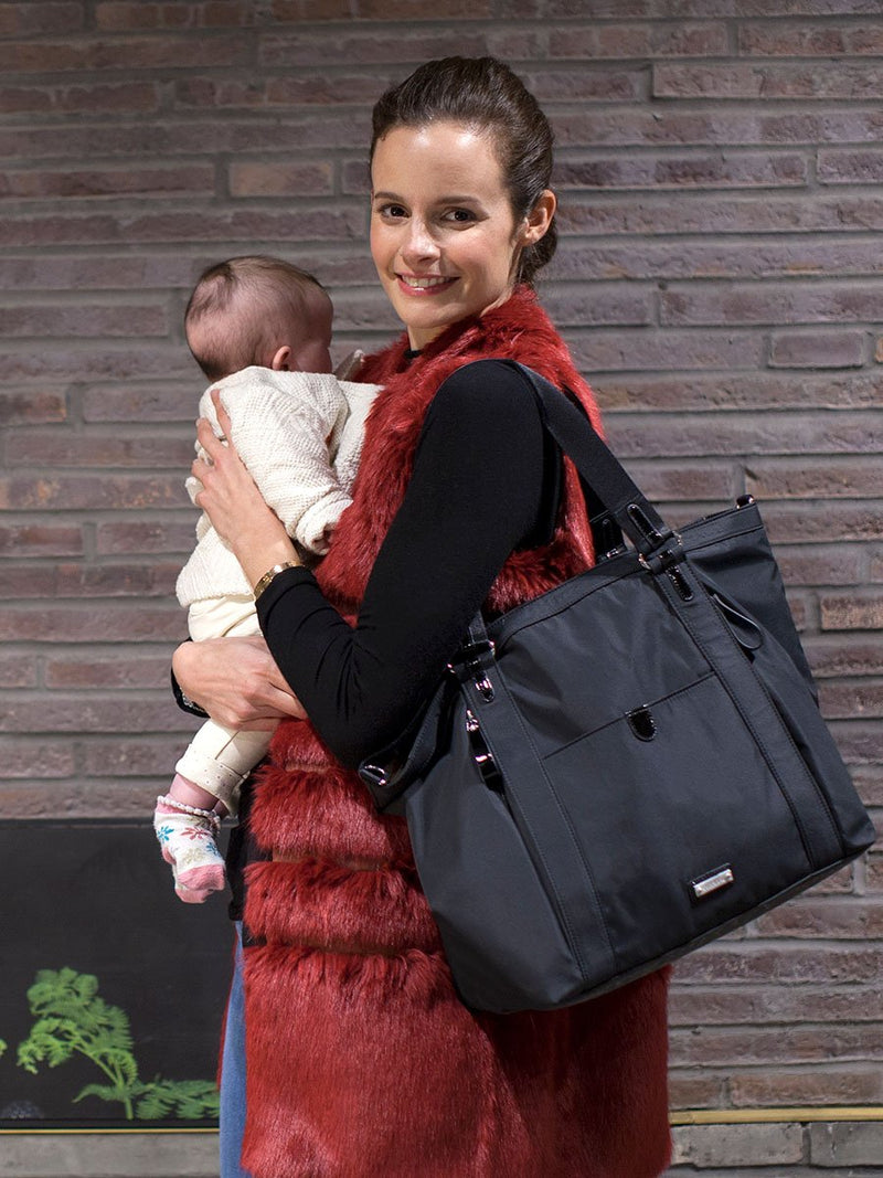 storksak cleo black changing bag, mum carrying bag and baby