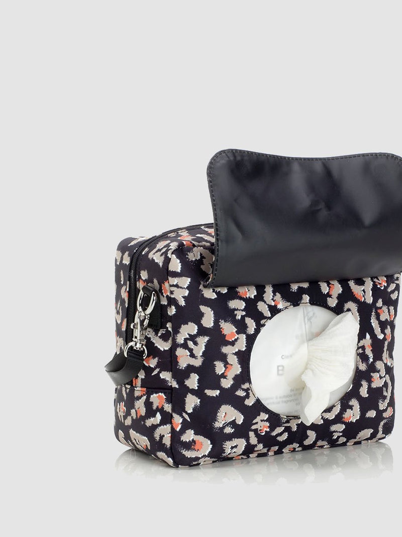 storksak cleo black changing bag, mini changing bag with baby wipes pocket