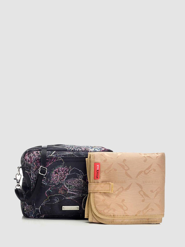 storksak mini-fix floral, small changing bag, comes with changing mat