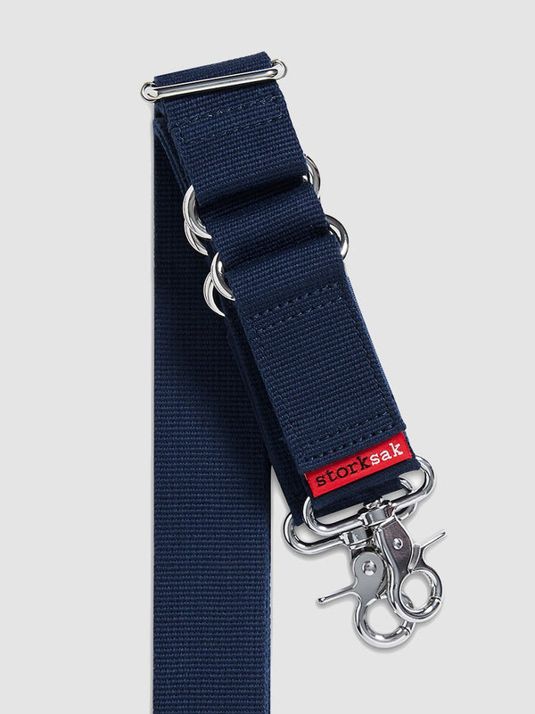storksak long strap with patented integrated straps, navy and silver