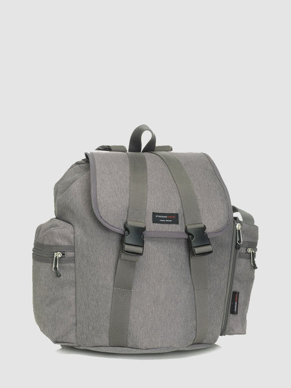 storksak travel backpack grey, rucksack changing bag, front view