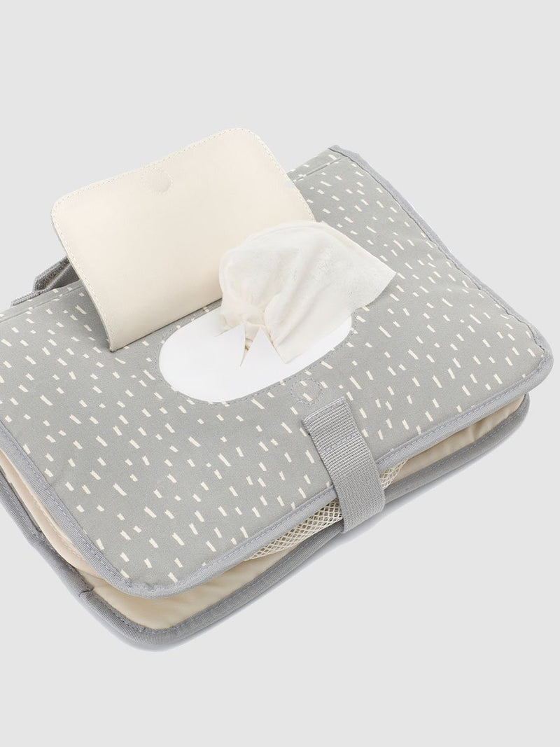 storksak organic change station grey raindot, close up of wipe dispenser pocket