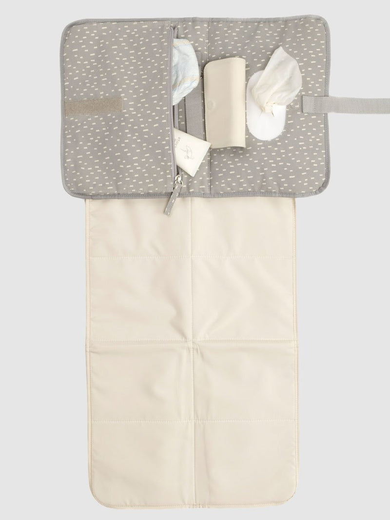storksak organic change station grey raindot, open showing mat, wipes dispenser and zipped pocket with nappies