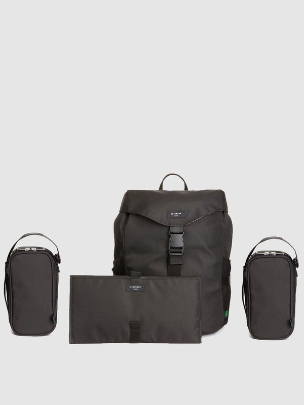 storksak travel eco backpack black, changing bag rucksack, recycled material, comes with changing mat, insulated bottle holder + organiser pouch