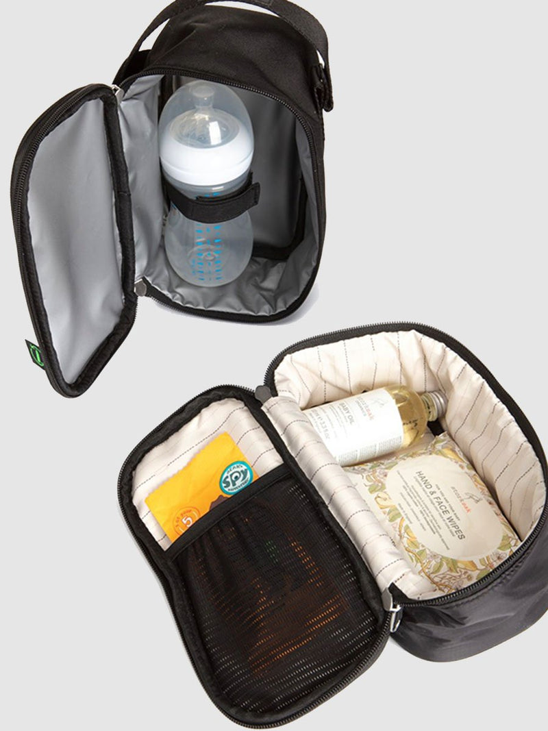 storksak travel eco backpack black, changing bag rucksack, recycled material, insulated pouch and organiser pouch open