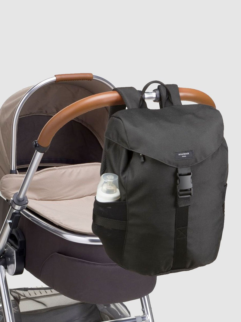 storksak travel eco backpack black, changing bag rucksack, recycled material, attached to buggy with back straps
