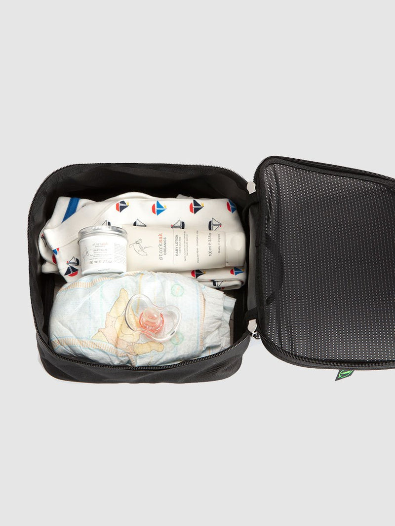 stroksak travel eco cabin carry-on black hospital bag, packing block open with baby items inside