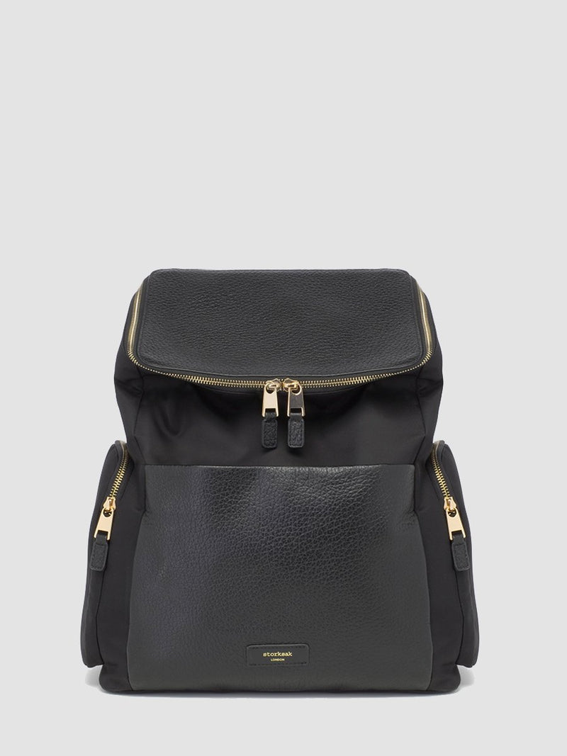 Storksak Alyssa | convertible Changing bag Backpack | Leather Baby Bag | Black per Bag with Gold Zips