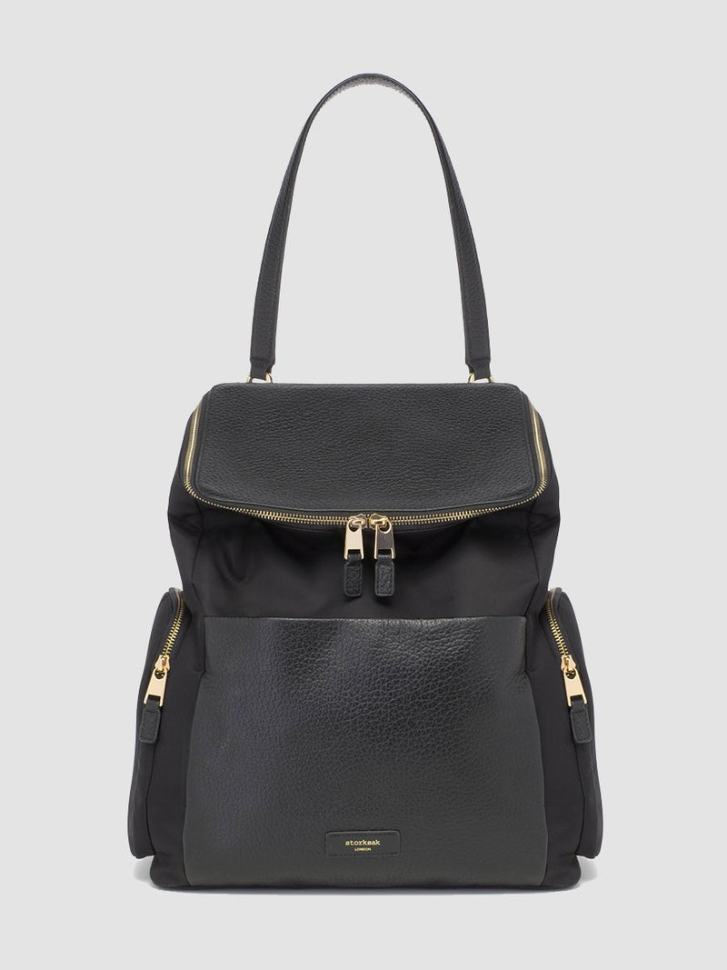 Storksak Alyssa |  Black convertible diaper changing Bag with Gold Zips | with detachable leather shoulder strap
