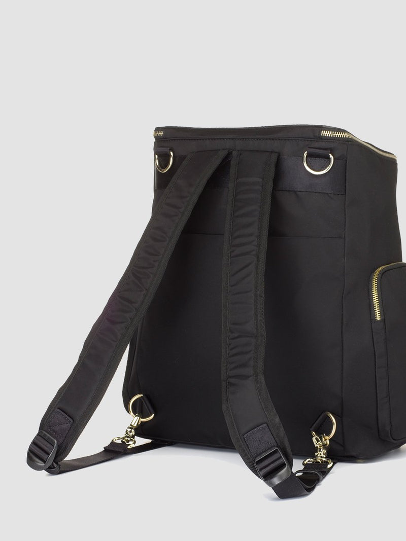 Storksak Alyssa |  Black convertible diaper changing Bag with Gold Zips | with padded backpack straps