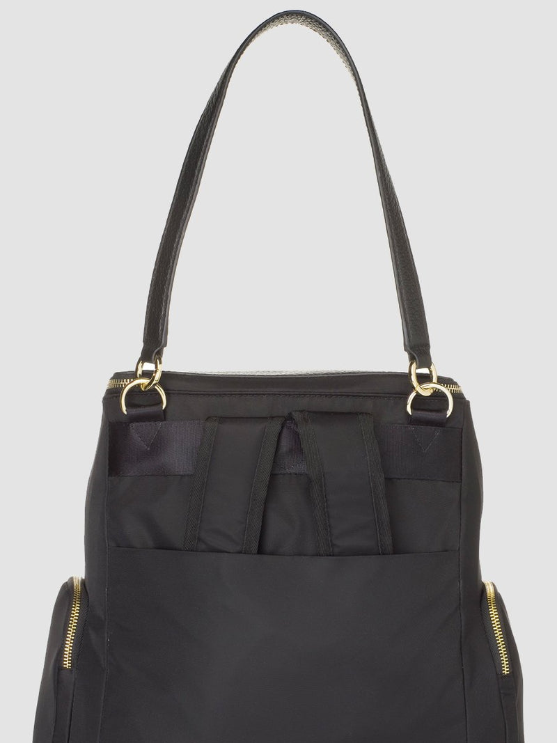 Storksak Alyssa |  Black convertible diaper changing Bag with Gold Zips |  - detachable leather shoulder strap