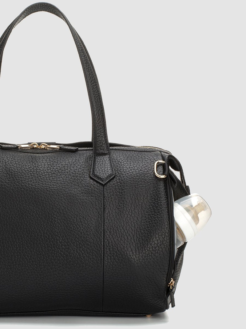 storksak lyra leather black | luxury changing bag | designer leather bag with zipped bottle pocket