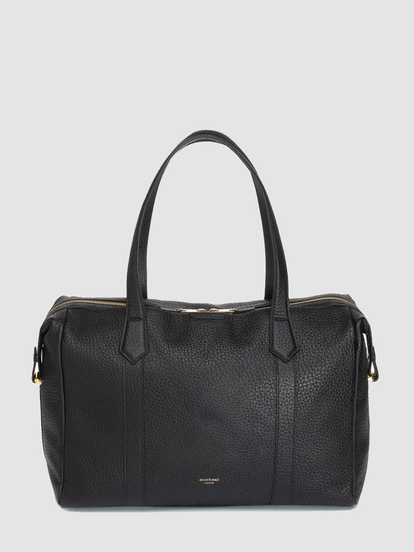 storksak lyra leather black | luxury changing bag | designer leather bag